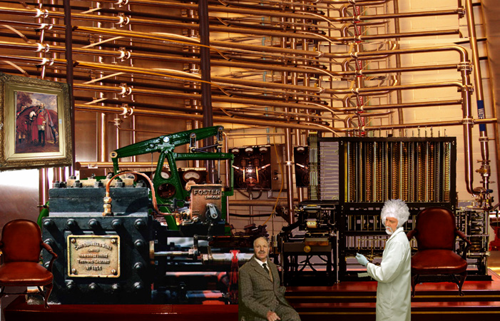 Steam coupled difference engine with ultra modern electrics